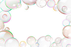Colorful soap bubbles frame Royalty Free Stock Photo