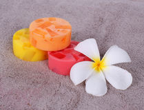 Colorful soap for spa. With frangipani flower Stock Photo