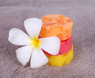Colorful soap for spa. With frangipani flower Stock Images