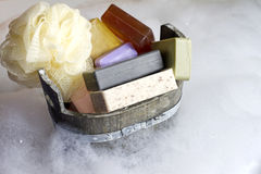 Colorful soaps cosmetics in the bathroom Royalty Free Stock Photos