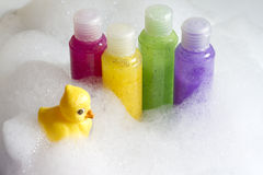 Colorful soaps cosmetics in the bathroom Stock Images