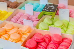 Colorful soaps shaped as macarons in boxes Stock Image
