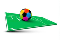 Colorful Soccer Ball on Abstract Empty Football Field Stock Photos