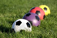 Colorful soccer balls Royalty Free Stock Images