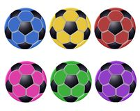 Colorful soccer balls Royalty Free Stock Photos