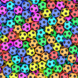 Colorful soccer balls background. High resolution 3D image Royalty Free Stock Photo