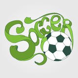 Colorful Soccer Hand lettering label in green and white colors Royalty Free Stock Images