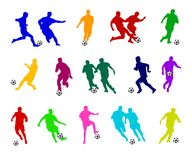 Colorful Soccer Players. An illustrated set of colorful soccer players in different game poses, isolated on a white background Stock Photo