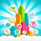 Colorful Social Media City. Colorful city with social media icons Royalty Free Stock Photography