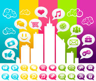 Colorful Social Media City Royalty Free Stock Photos