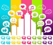 Colorful Social Media City royalty free illustration