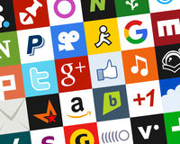 Colorful Social Media Icons Background [2] Stock Images