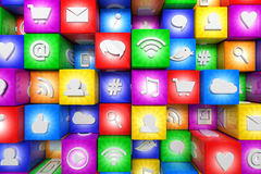 Colorful social media icons Royalty Free Stock Images