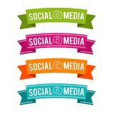 Colorful Social media ribbons. Eps10 Vector. Four different colours. Banner buttons stock illustration