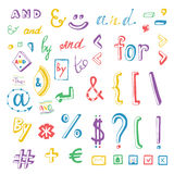 Colorful social media sign and symbol doodles set. Catchwords and, for, to, the, by. Vector design elements Royalty Free Stock Photos