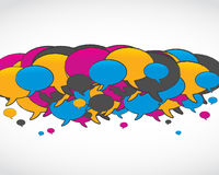 Colorful social media speech bubbles Stock Photos