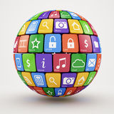 Colorful social media sphere. 3d illustration of colorful social media sphere