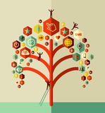 Colorful social network tree Royalty Free Stock Photo