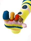 Colorful socks. Feet with colorful socks (isolated on white royalty free stock images