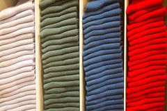 Colorful socks folded in stacks Stock Images