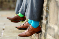 Colorful socks of groomsmen Stock Images