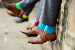 Colorful socks of groomsmen Royalty Free Stock Photography