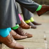 Colorful socks of groomsmen Stock Image