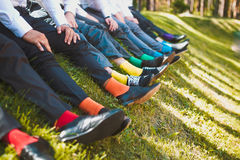 Colorful socks of groomsmen royalty free stock photo