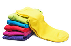 Colorful socks isolated on white Royalty Free Stock Photo