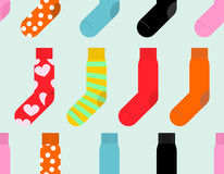 Colorful socks seamless pattern. Vector accessory clothing backg Stock Photo