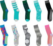 Colorful socks ten different patterns Stock Photography