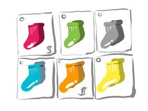 The colorful socks. The colorful sock design, icon pack for further applications royalty free illustration