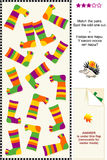 Colorful socks visual puzzle Royalty Free Stock Image