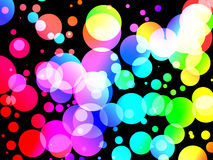 Colorful Soda Fizz. Abstract background of Colorful soda fizz bubble dots on black. Graphical illustration Royalty Free Stock Photo