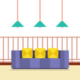 Colorful Sofa On Balcony With Ceiling Lamps Stock Photo
