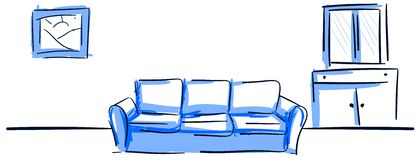 Colorful sofa in blue tones Stock Photos