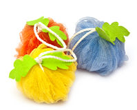 Colorful soft bath puffs Stock Photos