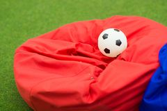colorful soft beanbag seats. under a canopy for relaxing royalty free stock photos