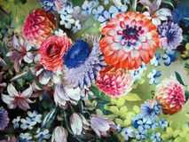 Colorful soft fabric with painted different flowers Royalty Free Stock Photos
