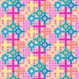Colorful soft pastel colored repeating pattern of circles and squares. Colorful repeating pattern of circles and squares in pink, yellow, green, blue, orange Royalty Free Stock Images