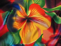Beautiful silk with painted flower Stock Photos