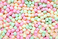 Colorful soft small marshmallows Royalty Free Stock Images