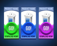 Colorful Software Banner Set With Big Button Royalty Free Stock Photo