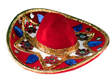 Colorful sombrero. Colorful mexican sombrero isolated on white Royalty Free Stock Photography
