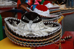 Colorful Sombreros. Stacks of sombreros are displayed in a stall on historic Olvera Street in Los Angeles royalty free stock photo