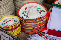 Colorful sombreros for sale at a market in Mexico. Royalty Free Stock Photo