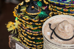 Colorful sombreros for sale at a market in Mexico. Stock Photo