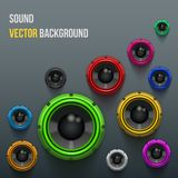 Colorful Sound Load Speakers on dark background. Stock Photography