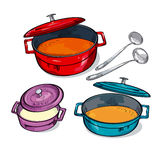 Colorful soup pan assorted. royalty free illustration