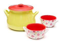 Colorful soup tureen. Modern colorful soup tureen and soup cups Royalty Free Stock Photo